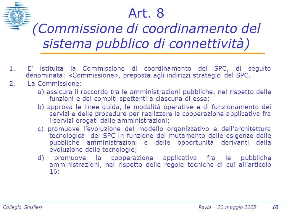 Collegio Ghislieri Pavia – 20 maggio 2005 10 Art.