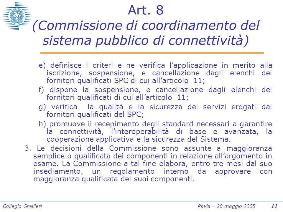 Collegio Ghislieri Pavia – 20 maggio 2005 11 Art.