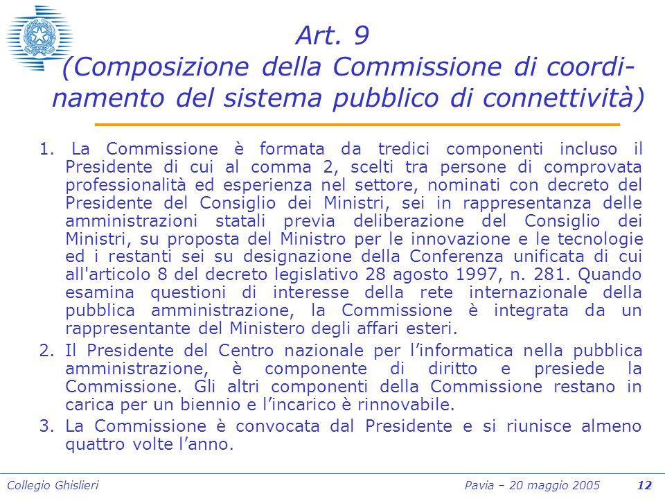 Collegio Ghislieri Pavia – 20 maggio 2005 12 Art.