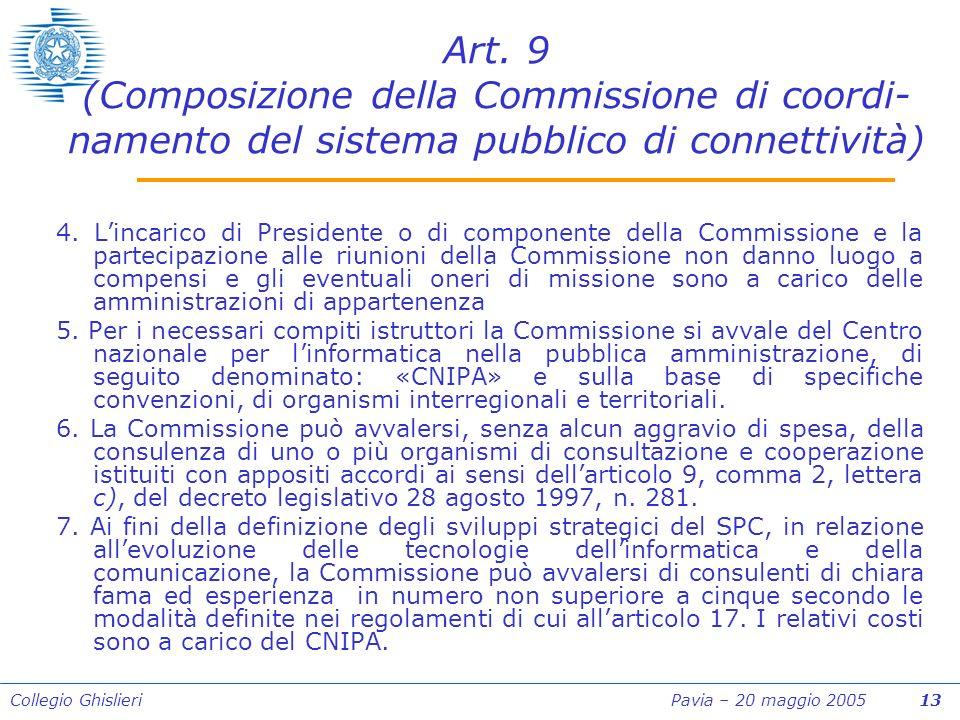 Collegio Ghislieri Pavia – 20 maggio 2005 13 Art.