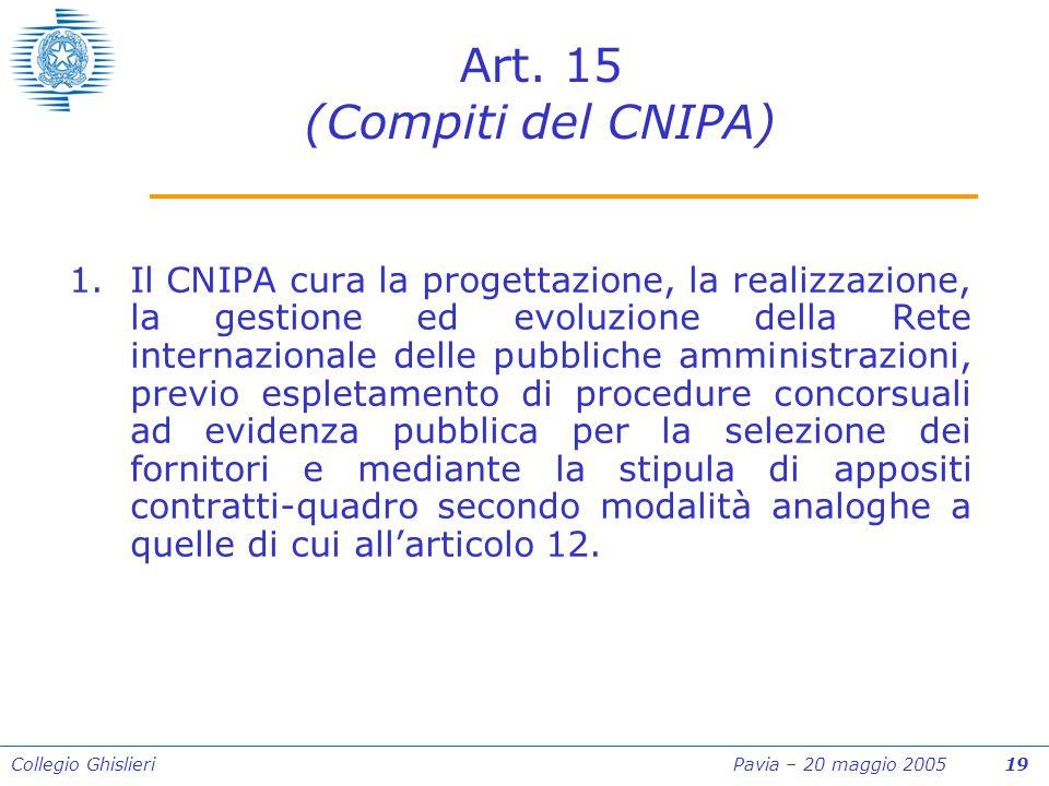 Collegio Ghislieri Pavia – 20 maggio 2005 19 Art.