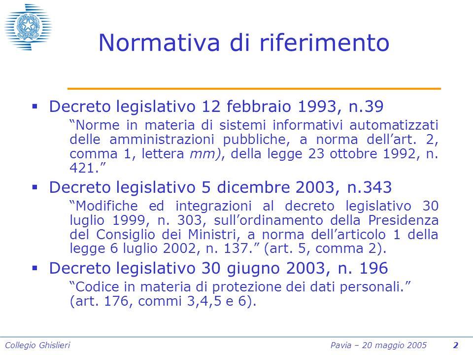 Collegio Ghislieri Pavia – 20 maggio 2005 2 Normativa di riferimento Decreto legislativo 12 febbraio 1993, n.39 Norme in materia di sistemi informativi automatizzati delle amministrazioni pubbliche, a norma dellart.