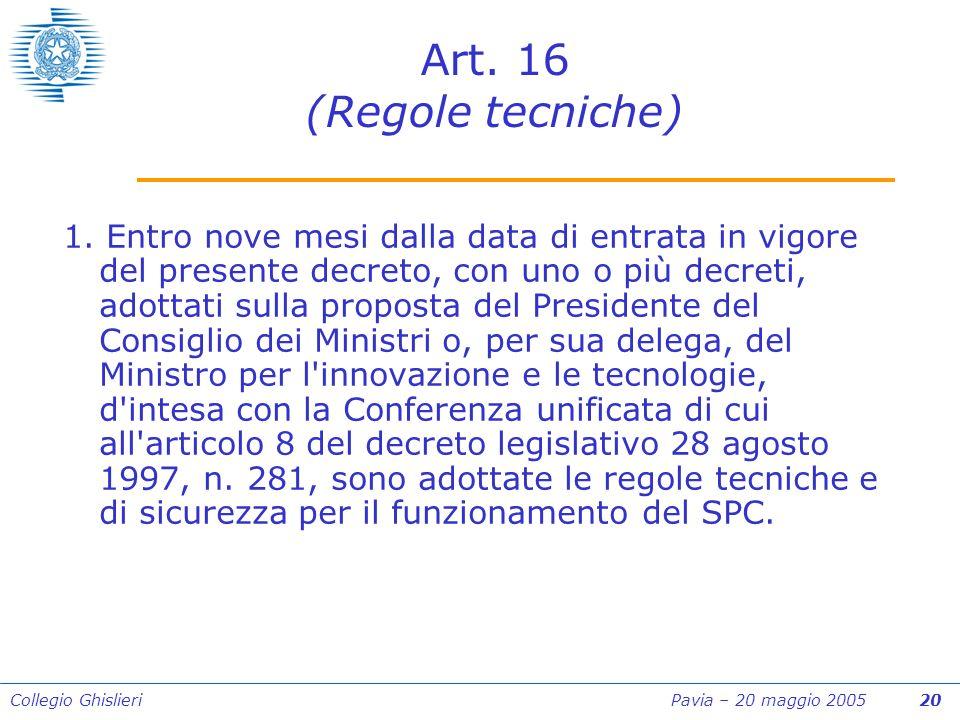 Collegio Ghislieri Pavia – 20 maggio 2005 20 Art. 16 (Regole tecniche) 1.
