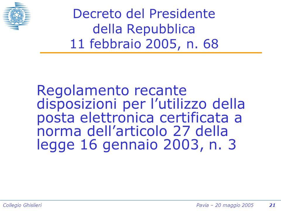 Collegio Ghislieri Pavia – 20 maggio 2005 21 Decreto del Presidente della Repubblica 11 febbraio 2005, n.