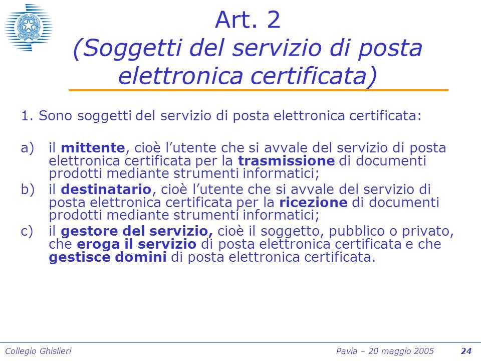 Collegio Ghislieri Pavia – 20 maggio 2005 24 Art.