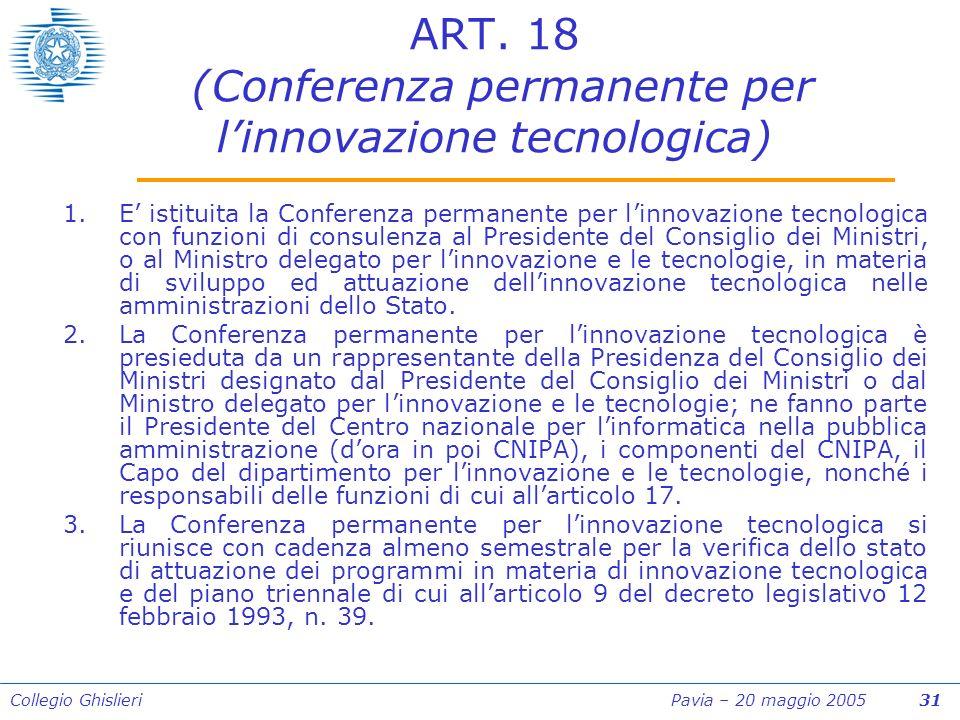 Collegio Ghislieri Pavia – 20 maggio 2005 31 ART.