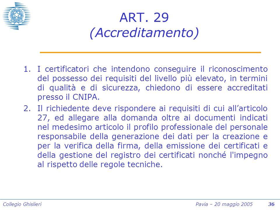Collegio Ghislieri Pavia – 20 maggio 2005 36 ART.