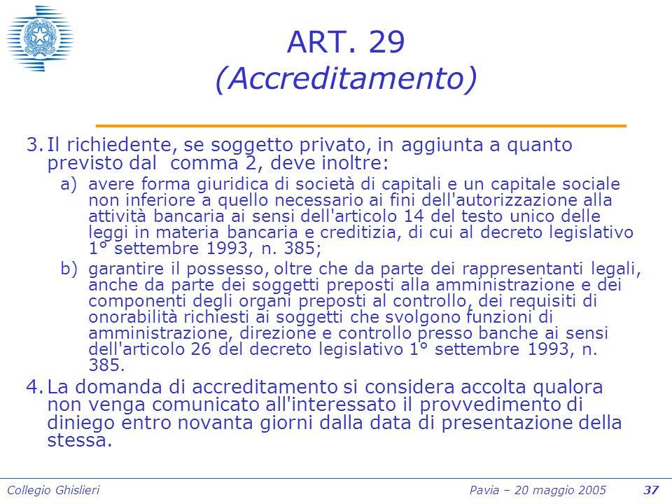 Collegio Ghislieri Pavia – 20 maggio 2005 37 ART.