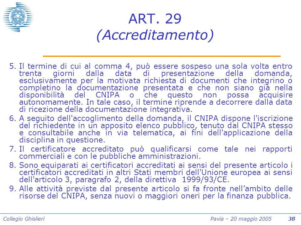 Collegio Ghislieri Pavia – 20 maggio 2005 38 ART.