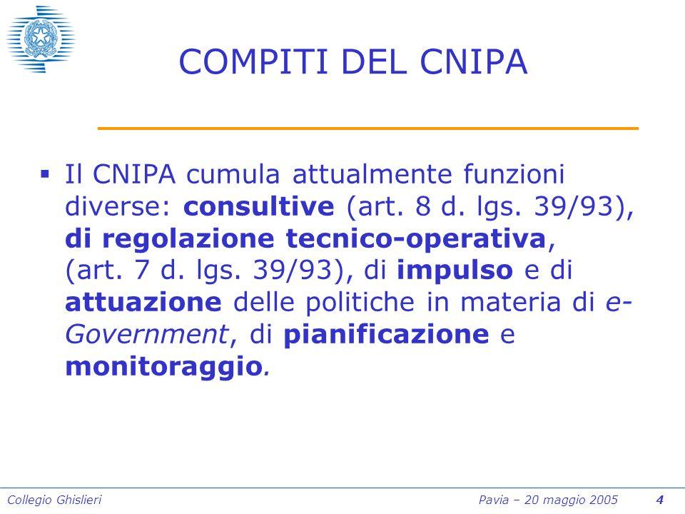 Collegio Ghislieri Pavia – 20 maggio 2005 4 COMPITI DEL CNIPA Il CNIPA cumula attualmente funzioni diverse: consultive (art.