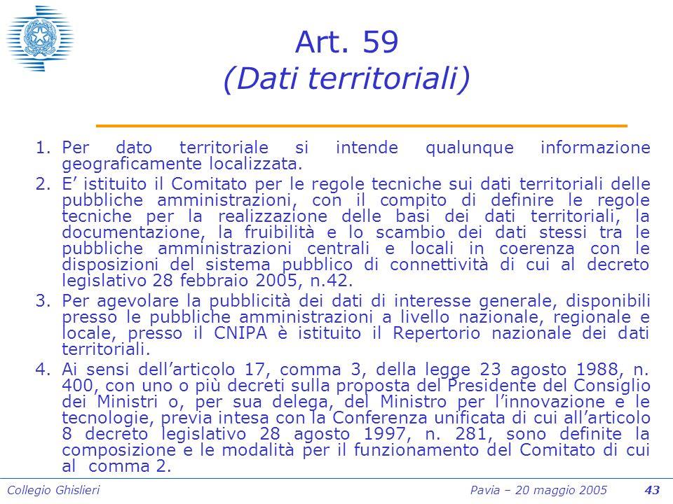 Collegio Ghislieri Pavia – 20 maggio 2005 43 Art.