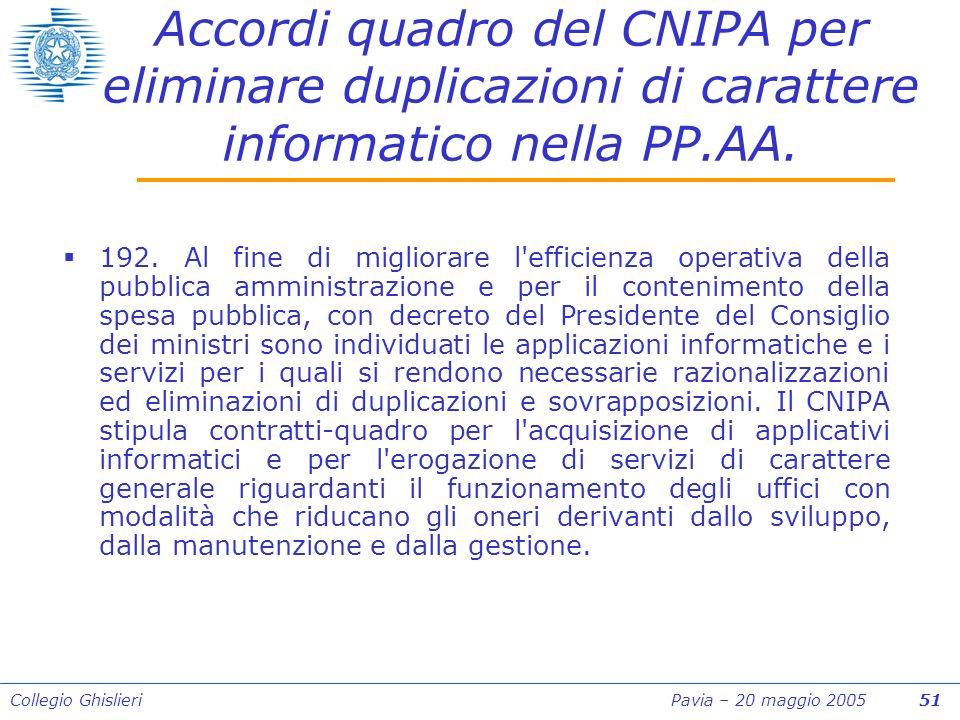 Collegio Ghislieri Pavia – 20 maggio 2005 51 Accordi quadro del CNIPA per eliminare duplicazioni di carattere informatico nella PP.AA.
