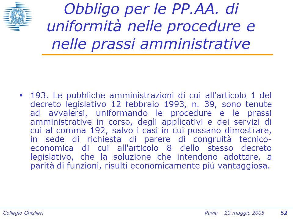 Collegio Ghislieri Pavia – 20 maggio 2005 52 Obbligo per le PP.AA.