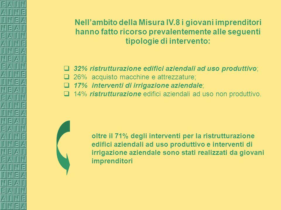 Nellambito della Misura IV.8 i giovani imprenditori hanno fatto ricorso prevalentemente alle seguenti tipologie di intervento: 32% ristrutturazione ed