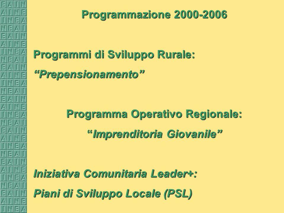 Programmazione 2000-2006 Programmi di Sviluppo Rurale: Prepensionamento Programma Operativo Regionale: Imprenditoria GiovanileImprenditoria Giovanile Iniziativa Comunitaria Leader+: Piani di Sviluppo Locale (PSL)