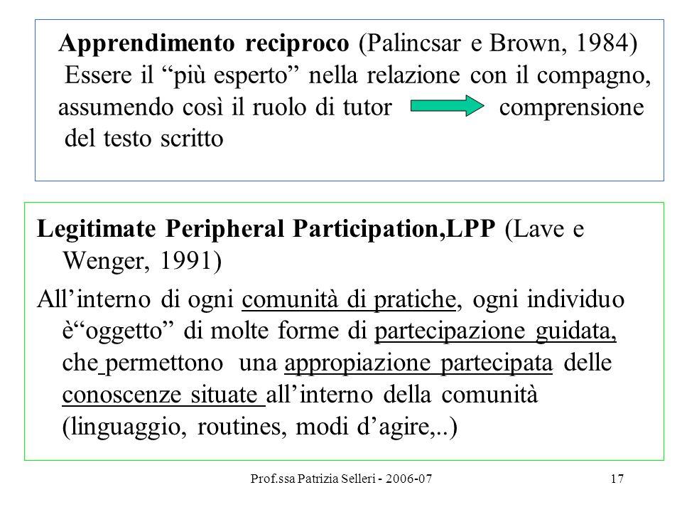 Prof.ssa Patrizia Selleri - 2006-0718 Approfondimenti bibliografici Comoglio M.( 1998).