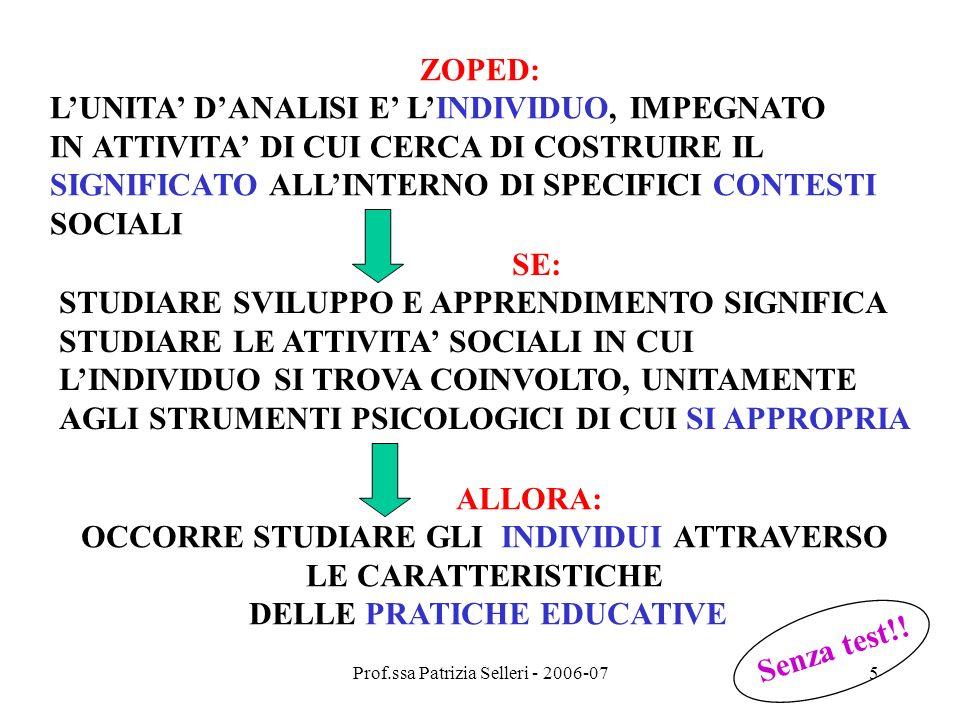 Prof.ssa Patrizia Selleri - 2006-076 1) Zoped e sviluppo dei CONCETTI (sviluppo) SCIENTIFICI APPRESI IN SISTEMI FORMALI (SCUOLE) HANNO LA FUNZIONE DI SISTEMATIZZARE LA CONOSCENZA VITA QUOTIDIANA APPRESI IN SITUAZIONI INFORMALI (FAMIGLIA,..) HANNO UNA FUNZIONE CONOSCITIVA PRATICA alunnoinsegnante oggetto bambino altro oggetto