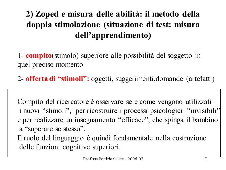 Prof.ssa Patrizia Selleri - 2006-078 ZOPED: Definisce i limiti cognitivi superiori e inferiori di un insegnamento efficace ALLORA: QUALI RAPPORTI FRA INSEGNAMENTO, APPRENDIMENTO E SVILUPPO .