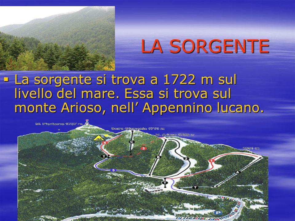 LA SORGENTE La sorgente si trova a 1722 m sul livello del mare. Essa si trova sul monte Arioso, nell Appennino lucano.