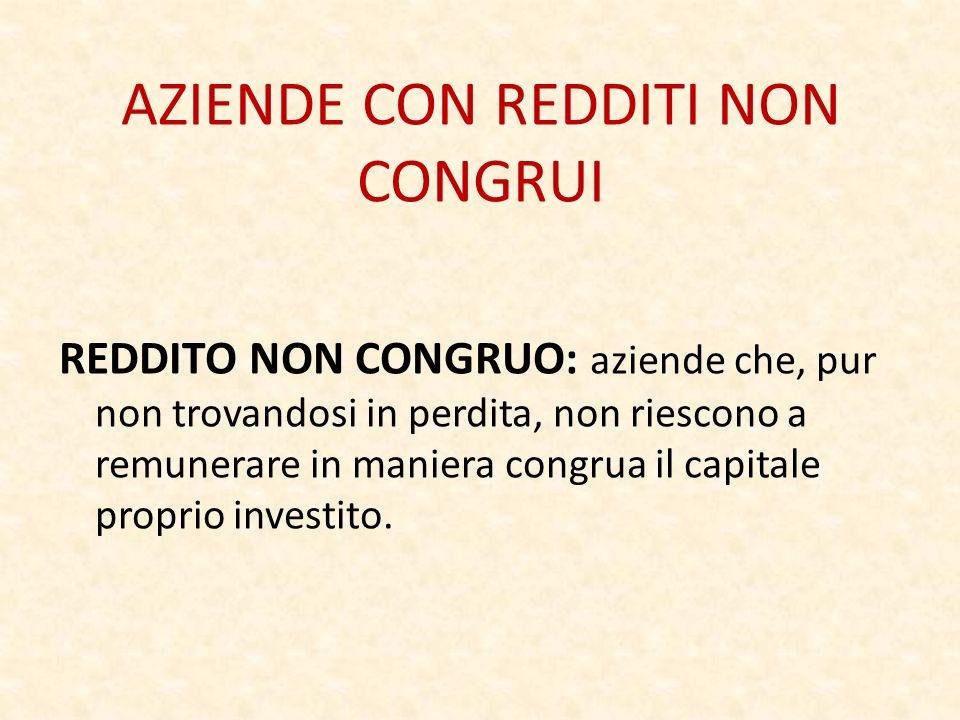 AZIENDE CON REDDITI NON CONGRUI REDDITO NON CONGRUO: aziende che, pur non trovandosi in perdita, non riescono a remunerare in maniera congrua il capitale proprio investito.