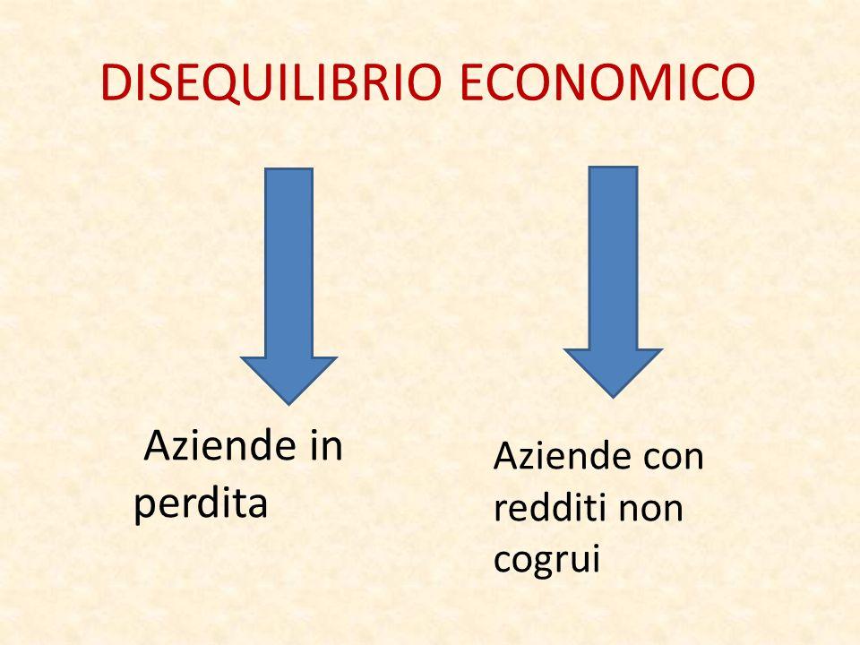 DISEQUILIBRIO ECONOMICO Aziende in perdita Aziende con redditi non cogrui