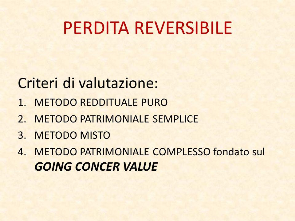 PERDITA REVERSIBILE Criteri di valutazione: 1.METODO REDDITUALE PURO 2.METODO PATRIMONIALE SEMPLICE 3.METODO MISTO 4.METODO PATRIMONIALE COMPLESSO fondato sul GOING CONCER VALUE