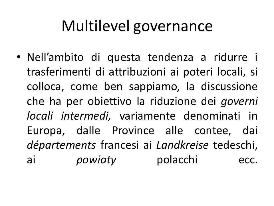 Italia: province e comuni interconnessi Questa interconnessione costituisce una sintesi fra modello francese (decentramento) e modello asburgico (autonomia).
