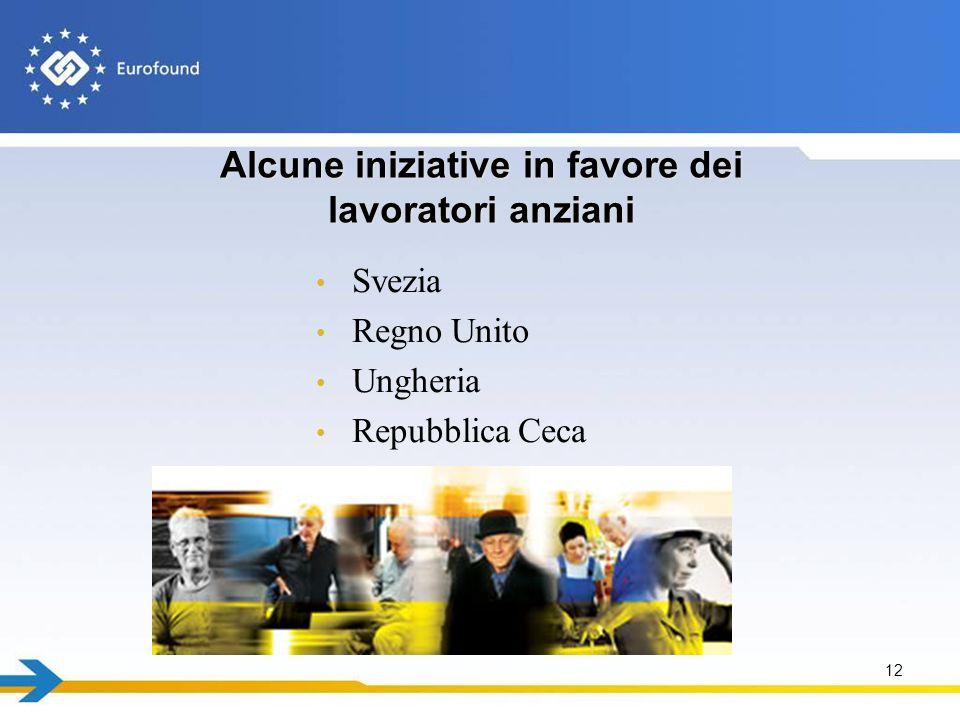 Alcune iniziative in favore dei lavoratori anziani Svezia Regno Unito Ungheria Repubblica Ceca 12