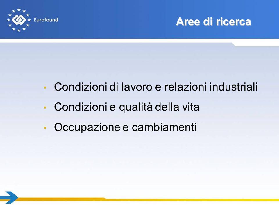 Aree di ricerca Condizioni di lavoro e relazioni industriali Condizioni e qualità della vita Occupazione e cambiamenti