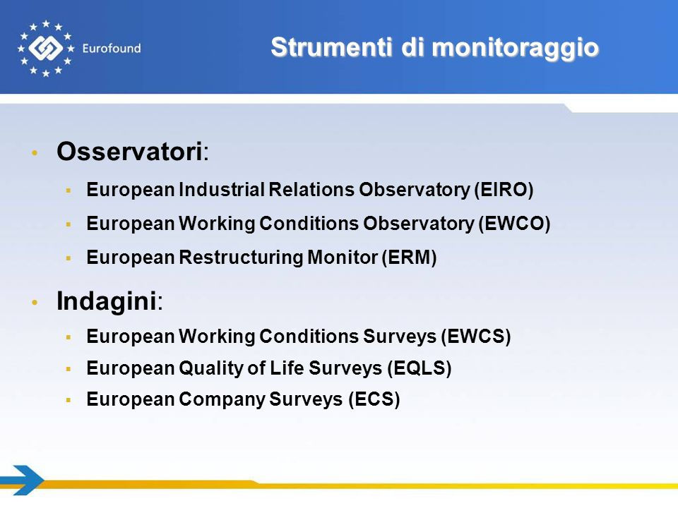 Strumenti di monitoraggio Osservatori: European Industrial Relations Observatory (EIRO) European Working Conditions Observatory (EWCO) European Restructuring Monitor (ERM) Indagini: European Working Conditions Surveys (EWCS) European Quality of Life Surveys (EQLS) European Company Surveys (ECS)