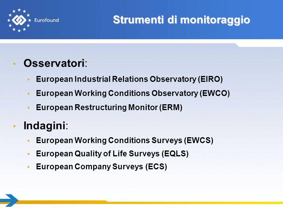 Strumenti di monitoraggio Osservatori: European Industrial Relations Observatory (EIRO) European Working Conditions Observatory (EWCO) European Restru