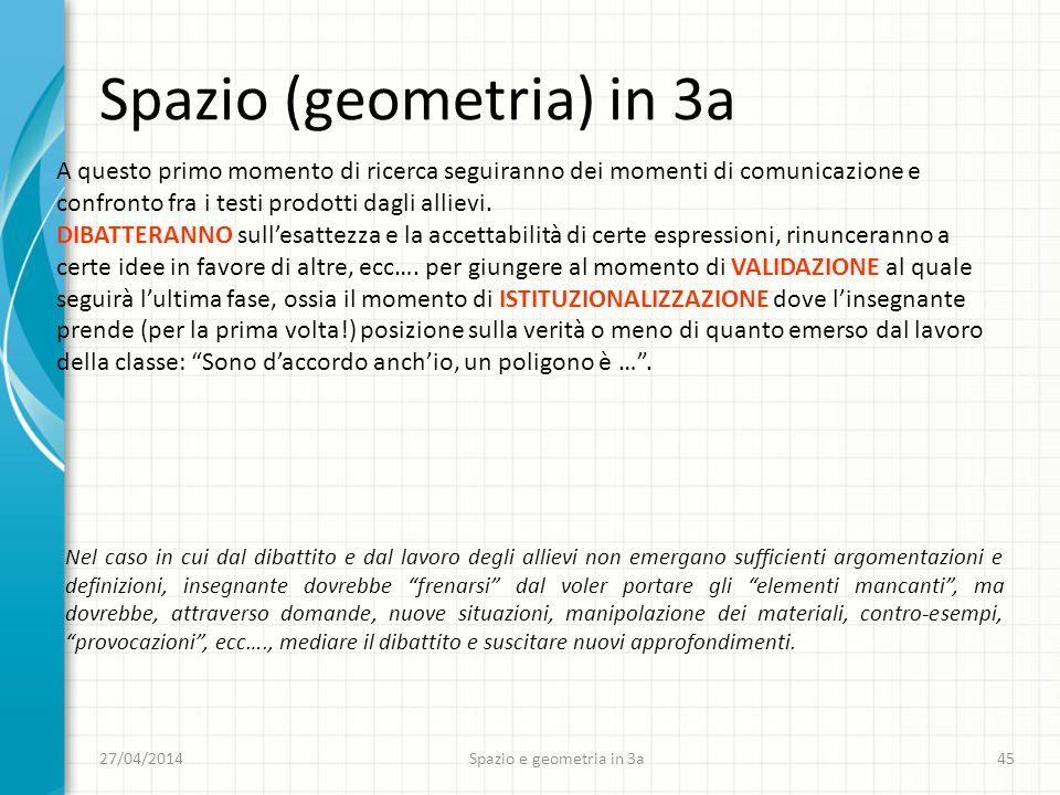 27/04/2014Spazio e geometria in 3a45 Spazio (geometria) in 3a A questo primo momento di ricerca seguiranno dei momenti di comunicazione e confronto fra i testi prodotti dagli allievi.