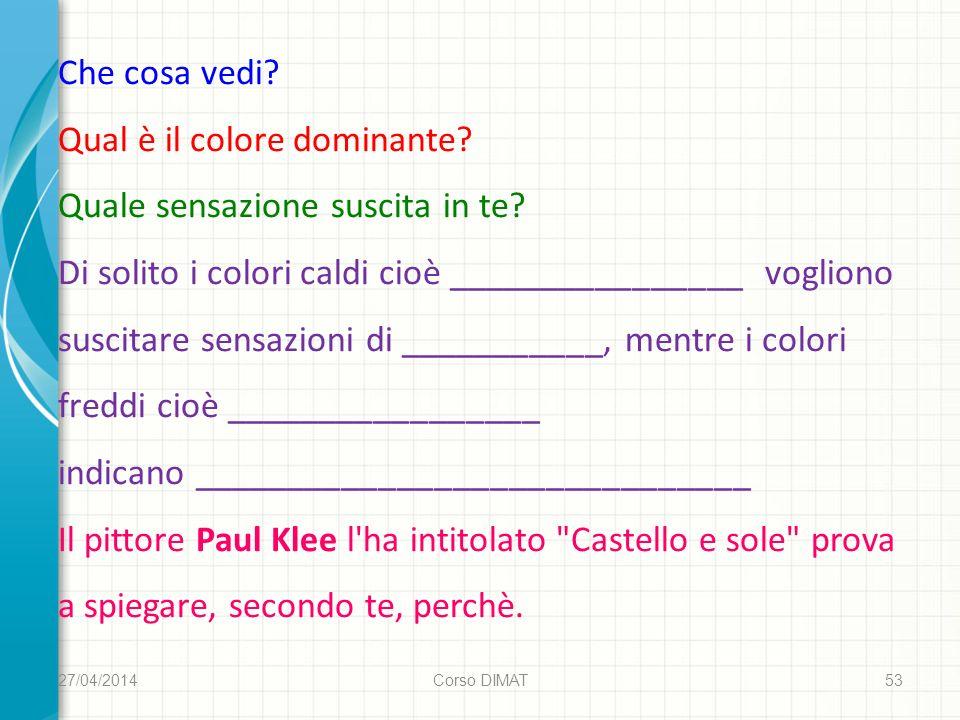 27/04/2014 Corso DIMAT 53 Che cosa vedi. Qual è il colore dominante.