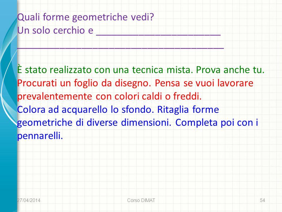 27/04/2014 Corso DIMAT 54 Quali forme geometriche vedi.