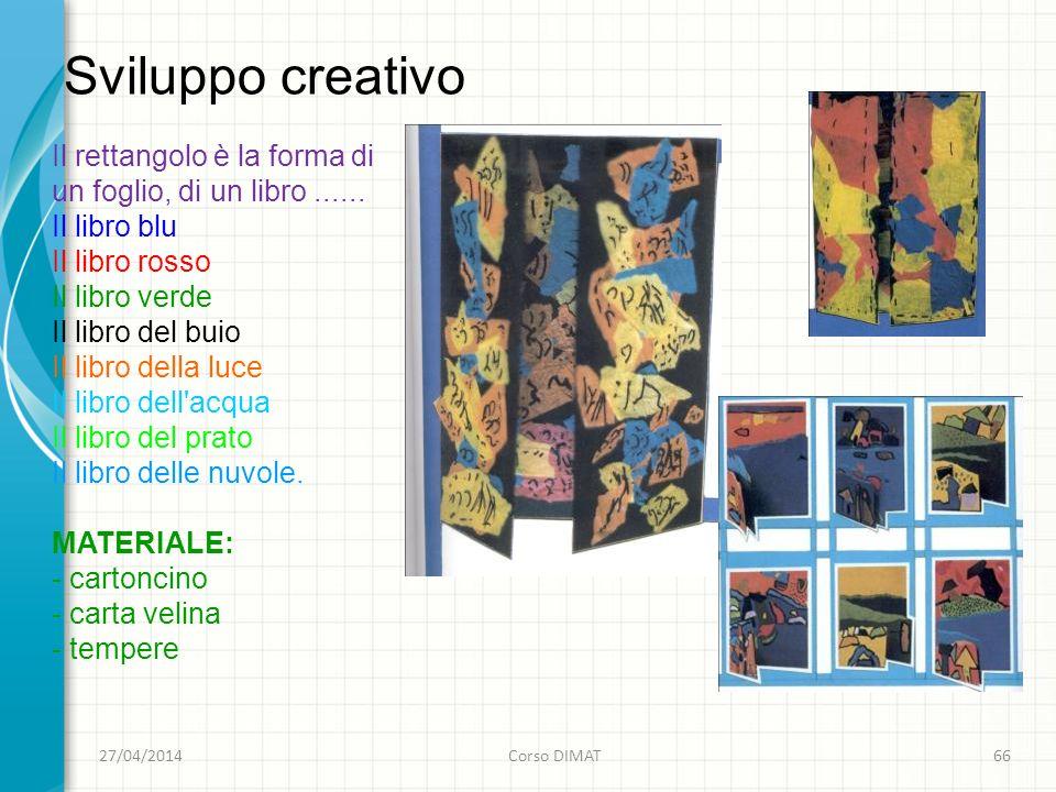 Sviluppo creativo 27/04/2014Corso DIMAT66 Il rettangolo è la forma di un foglio, di un libro......