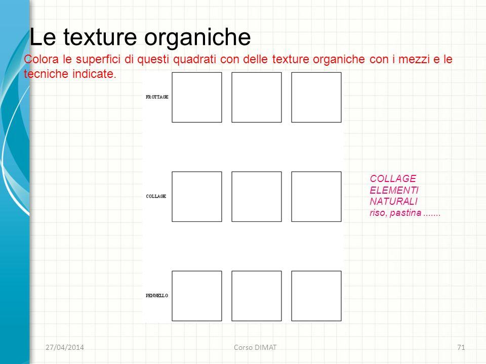 Le texture organiche 27/04/2014Corso DIMAT71 Colora le superfici di questi quadrati con delle texture organiche con i mezzi e le tecniche indicate.