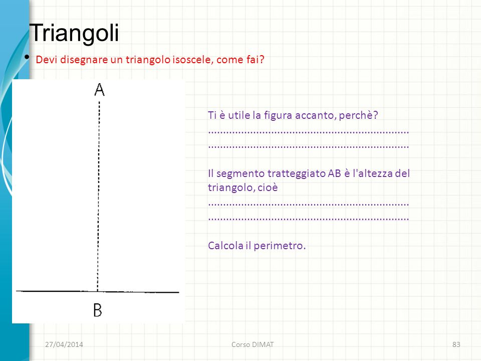 Triangoli 27/04/2014Corso DIMAT83 Devi disegnare un triangolo isoscele, come fai.