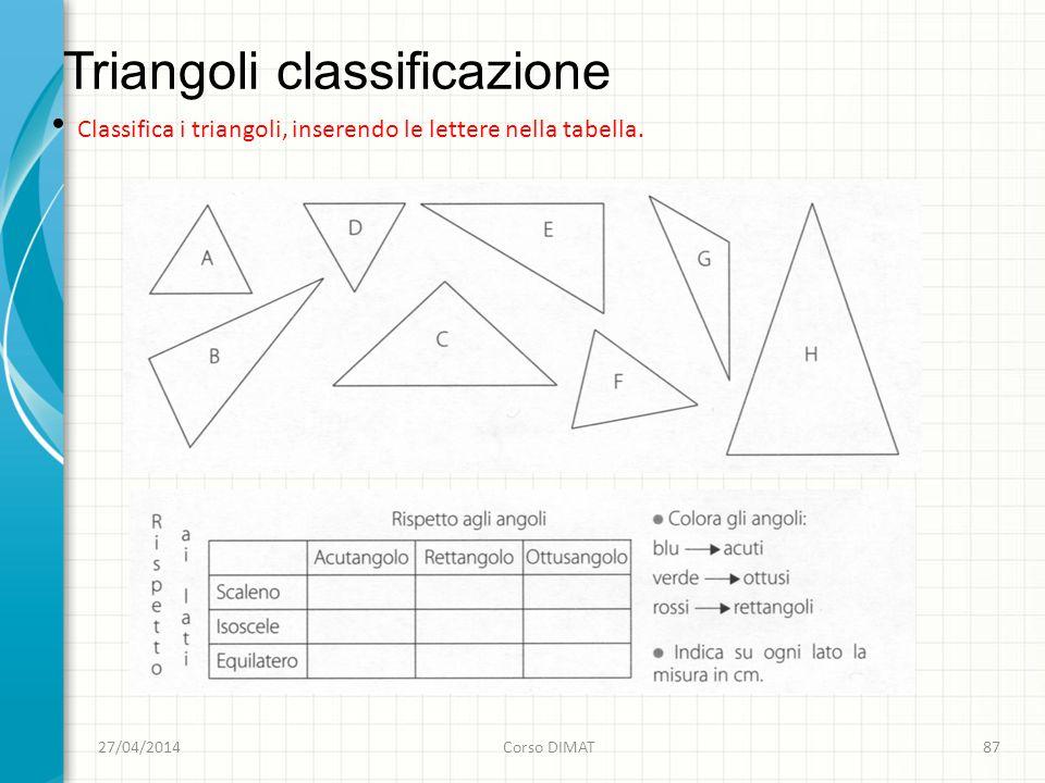 Triangoli classificazione 27/04/2014Corso DIMAT87 Classifica i triangoli, inserendo le lettere nella tabella.