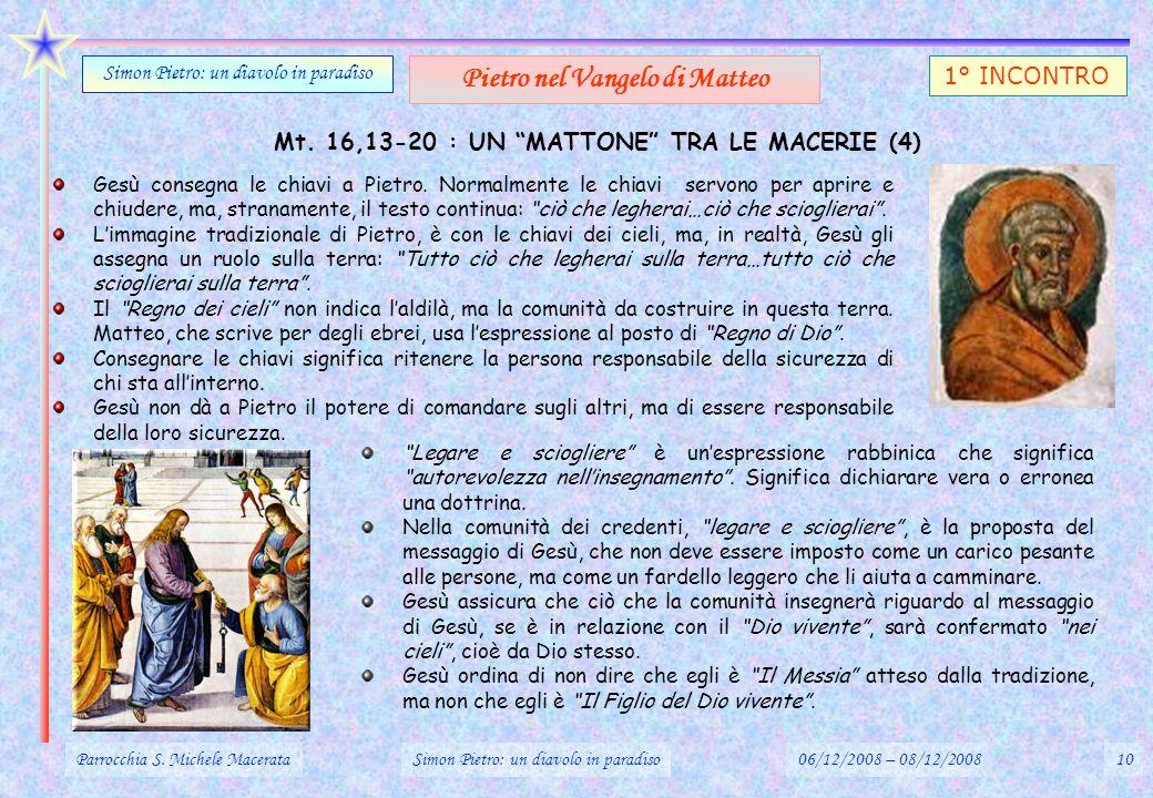 Mt. 16,13-20 : UN MATTONE TRA LE MACERIE (4) Gesù consegna le chiavi a Pietro. Normalmente le chiavi servono per aprire e chiudere, ma, stranamente, i