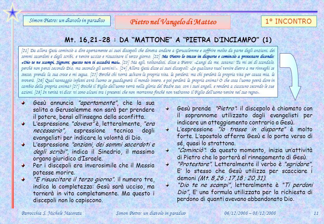 Mt. 16,21-28 : DA MATTONE A PIETRA DINCIAMPO (1) Parrocchia S. Michele MacerataSimon Pietro: un diavolo in paradiso06/12/2008 – 08/12/200811 Simon Pie