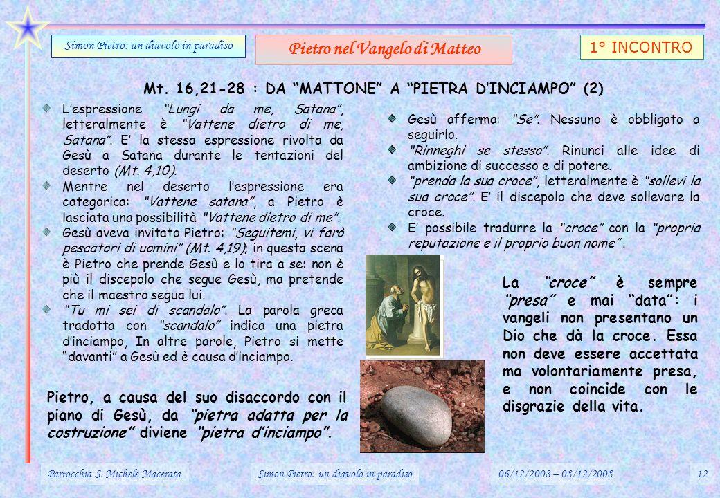 Mt. 16,21-28 : DA MATTONE A PIETRA DINCIAMPO (2) Parrocchia S. Michele MacerataSimon Pietro: un diavolo in paradiso06/12/2008 – 08/12/200812 Simon Pie