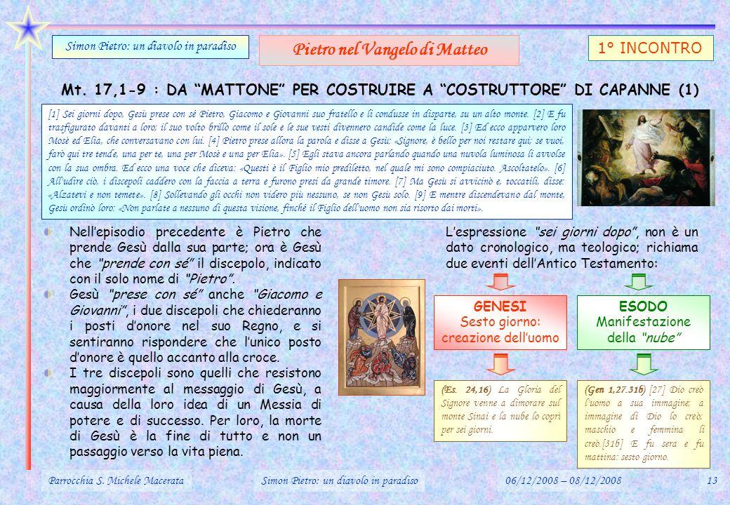 Mt. 17,1-9 : DA MATTONE PER COSTRUIRE A COSTRUTTORE DI CAPANNE (1) Parrocchia S. Michele MacerataSimon Pietro: un diavolo in paradiso06/12/2008 – 08/1