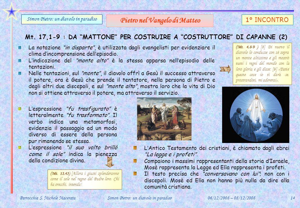 Mt. 17,1-9 : DA MATTONE PER COSTRUIRE A COSTRUTTORE DI CAPANNE (2) Parrocchia S. Michele MacerataSimon Pietro: un diavolo in paradiso06/12/2008 – 08/1