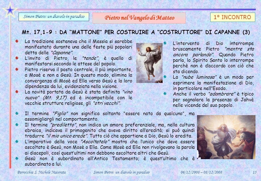 Mt. 17,1-9 : DA MATTONE PER COSTRUIRE A COSTRUTTORE DI CAPANNE (3) Parrocchia S. Michele MacerataSimon Pietro: un diavolo in paradiso06/12/2008 – 08/1