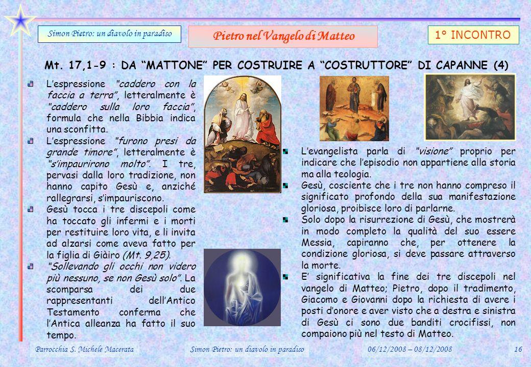 Mt. 17,1-9 : DA MATTONE PER COSTRUIRE A COSTRUTTORE DI CAPANNE (4) Parrocchia S. Michele MacerataSimon Pietro: un diavolo in paradiso06/12/2008 – 08/1