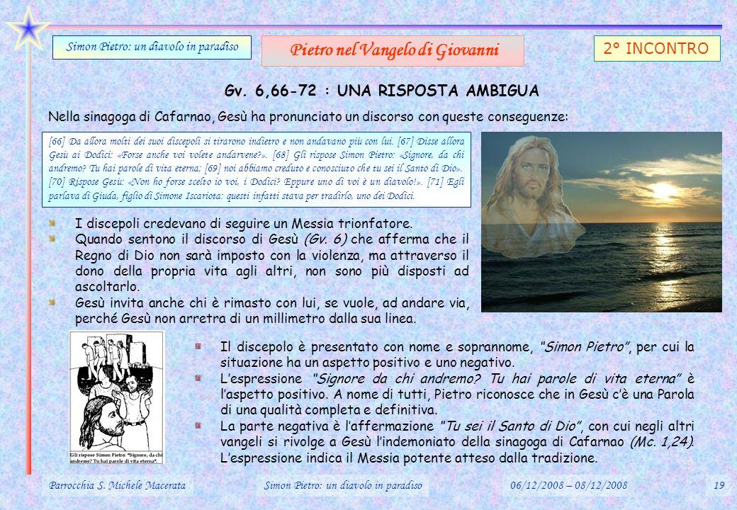 Gv. 6,66-72 : UNA RISPOSTA AMBIGUA Parrocchia S. Michele MacerataSimon Pietro: un diavolo in paradiso06/12/2008 – 08/12/200819 Simon Pietro: un diavol