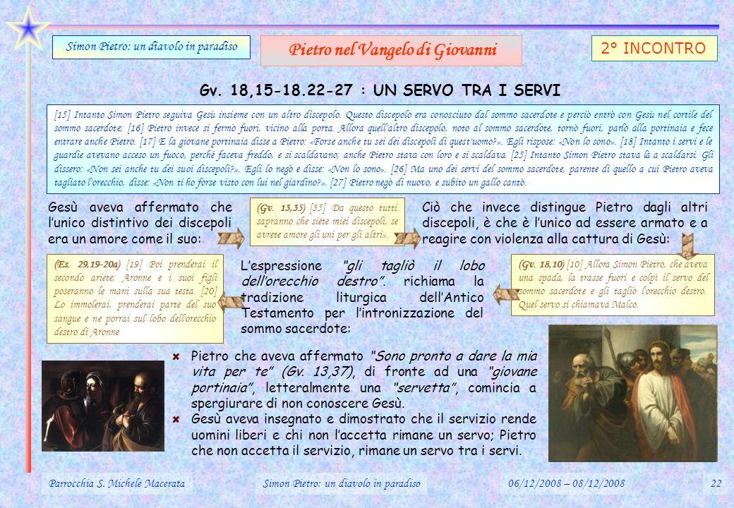 Gv. 18,15-18.22-27 : UN SERVO TRA I SERVI Parrocchia S. Michele MacerataSimon Pietro: un diavolo in paradiso06/12/2008 – 08/12/200822 Simon Pietro: un