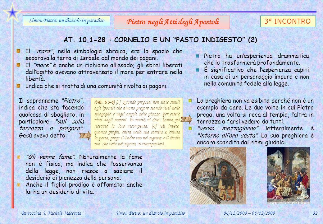 AT. 10,1-28 : CORNELIO E UN PASTO INDIGESTO (2) Parrocchia S. Michele MacerataSimon Pietro: un diavolo in paradiso06/12/2008 – 08/12/200832 Simon Piet