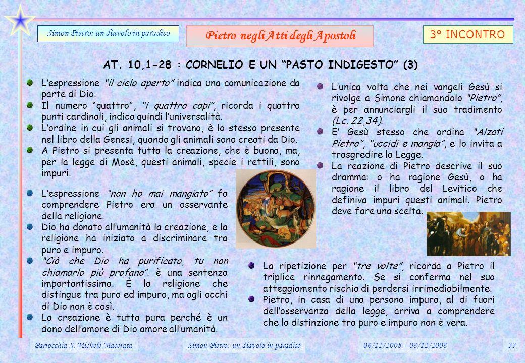AT. 10,1-28 : CORNELIO E UN PASTO INDIGESTO (3) Parrocchia S. Michele MacerataSimon Pietro: un diavolo in paradiso06/12/2008 – 08/12/200833 Simon Piet