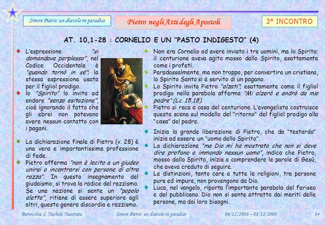 AT. 10,1-28 : CORNELIO E UN PASTO INDIGESTO (4) Parrocchia S. Michele MacerataSimon Pietro: un diavolo in paradiso06/12/2008 – 08/12/200834 Simon Piet
